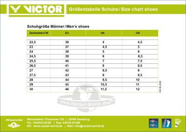 Size Chart Victor Shoes man, unisex