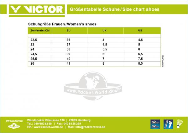 Size Chart Victor Shoes girl, woman