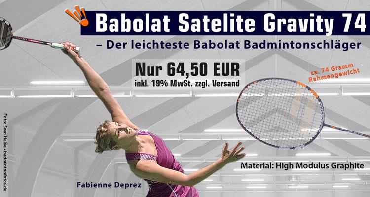 Saite Hülle Badminton Babolat Satelite Gravity 74 Badmintonschläger 2019 Inkl